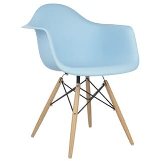 Retro Eames Style Molded Plastic Wood Eiffel Legs Blue Armchair (China)