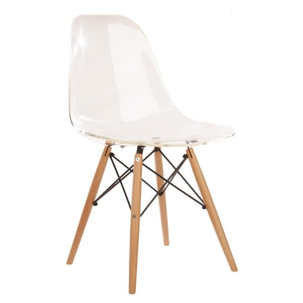 handmade eames style clear plastic dining chair with wood eiffel legs