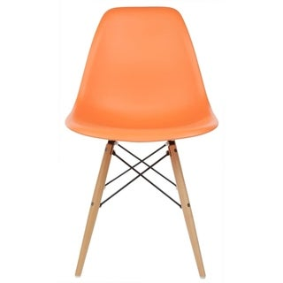 Retro Eames Style Molded Plastic Wood Eiffel Legs Orange Side Chair (China)