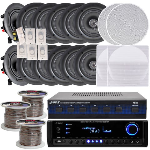 Pyle KTHSP370 6-room In-wall/ Ceiling 5.25-inch Speaker System with Receiver/ Volume Controls/ Speaker Selector/ 300-foot Wire