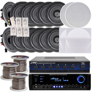 Pyle KTHSP370 6-room In-wall/ Ceiling 5.25-inch Speaker System with Receiver/ Volume Controls/ Speaker Selector/ 300-foot Wire|https://ak1.ostkcdn.com/images/products/10119932/P17258596.jpg?_ostk_perf_=percv&impolicy=medium