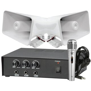 Pyle KTPMSA20HM 50W Amplifier with 2 8-inch Indoor/ Outdoor 65W Horn Speakers and Handheld Microphone