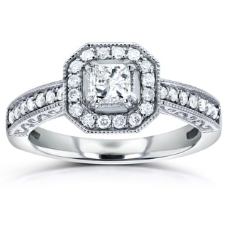 Annello by Kobelli 14k White Gold 3/5ct TDW Princess-cut Diamond Halo Engagement Ring (H-