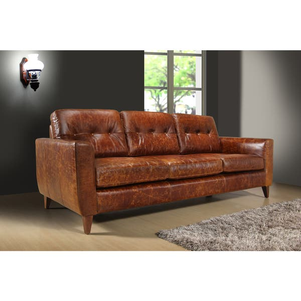 Shop Austin Vintage Brown Leather 3-seat Sofa - Free ...