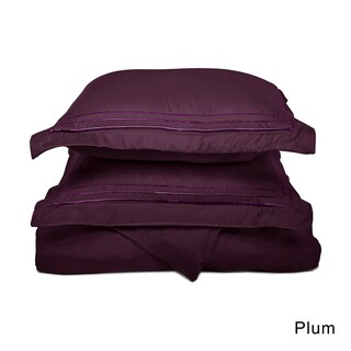 Superior Wrinkle Resistant Embroidered Microfiber Duvet Cover Set (Option: Plum - 3 Piece - Full - Queen)