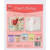 Hot Off The Press DieCut Cards W/Envelopes 5/PkgHeart Swing