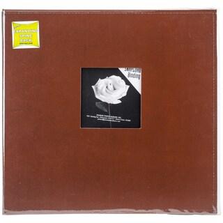 Sewn Frame Leatherette Snapload Album 12inX12inBrown