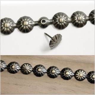 Salvaged Nail On Metal Deco Strip W/Tacks