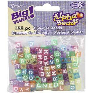 Alphabet Beads 7mm 160/PkgTransparent Multicolored