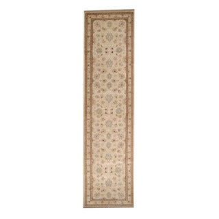 Herat Oriental Afghan Hand-knotted Vegetable Dye Oushak Ivory/ Red Wool Rug (2'6 x 9'9)