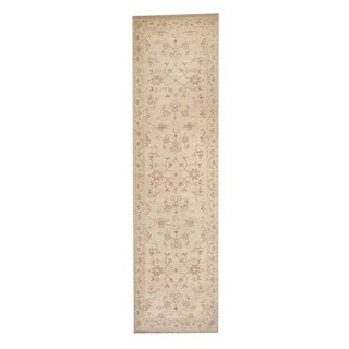 Herat Oriental Afghan Hand-knotted Vegetable Dye Oushak Ivory/ Red Wool Rug (2'9 x 9'11)