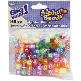 Alphabet Beads 8mm 160/PkgTransparent Glitter