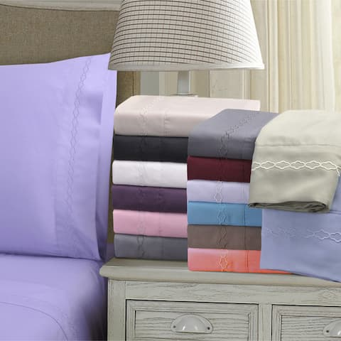 Wrinkle Resistant Embroidered Cloud 3-piece Duvet Cover Set
