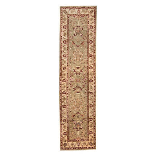 Herat Oriental Afghan Hand-knotted Vegetable Dye Oushak Light Green/ Ivory Wool Rug (2'8 x 10'4) - 2'8 x 10'4