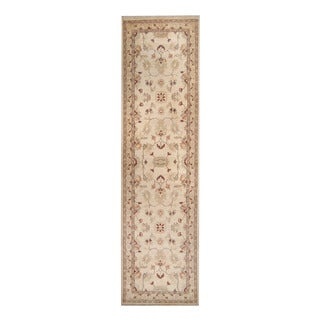 Herat Oriental Afghan Hand-knotted Vegetable Dye Oushak Ivory/ Gold Wool Rug (2'8 x 9'10)