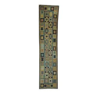 Herat Oriental Afghan Hand-woven Soumak Kilim Peach/ Green Wool Rug (2'4 x 10'9)