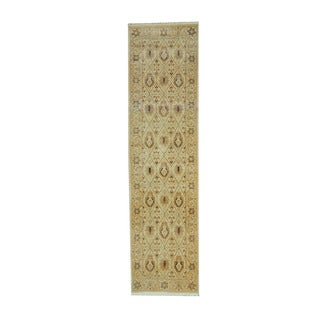 Herat Oriental Indo Hand-knotted Oushak Ivory/ Beige Wool Rug (2'6 x 9'7)