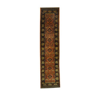 Herat Oriental Afghan Hand-knotted Oushak Rust/ Black Wool Rug (2'7 x 10'5)
