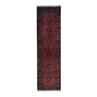 Herat Oriental Afghan Hand-knotted Khal Mohammadi Red/ Navy Wool Rug (2'8 x 9'5)