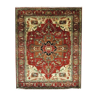 Herat Oriental Indo Hand-knotted Heriz Red/ Brown Wool Rug (8'1 x 10')