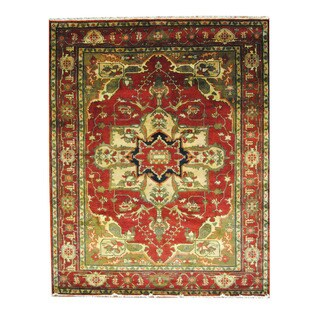 Herat Oriental Indo Hand-knotted Heriz Red/ Navy Wool Rug (8'1 x 10'3)