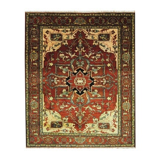 Herat Oriental Indo Hand-knotted Heriz Rust/ Navy Wool Rug (8' x 10')