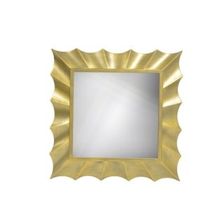 Goldtone Wave 30-inch Square Mirror