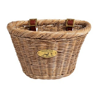 Nantucket Bicycle Basket Co. Young's Adult D-Shape Driftwood Basket