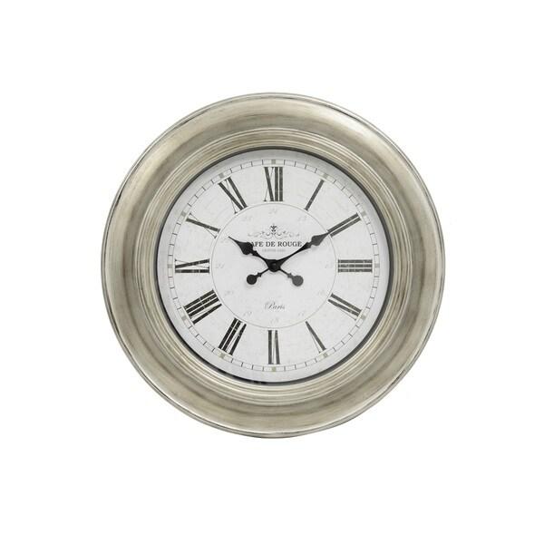 Café De Rouge Antique Silver 24 Inch Wall Clock
