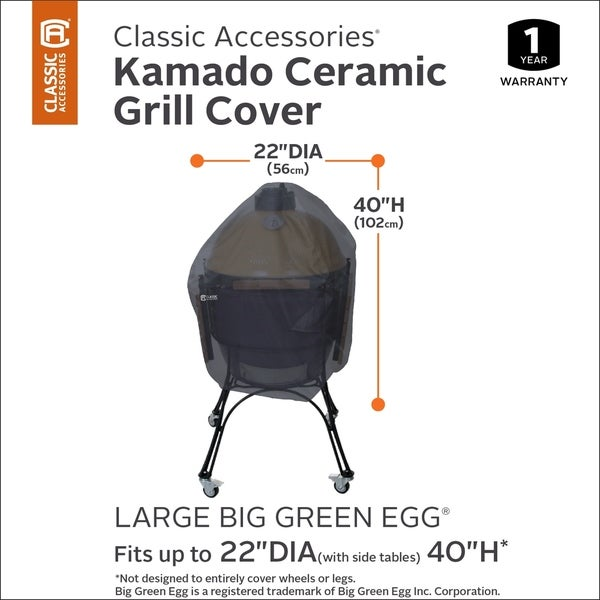 Large Classic Accessories Grill Cover for Kamado Ceramic Grills Black