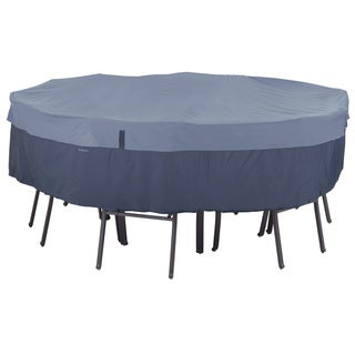 Classic Accessories Belltown Round Patio Table and Patio Chair Set Cover Blue