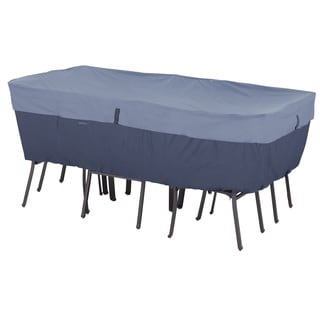 Classic Accessories Belltown Rectangular/ Oval Patio Table and Patio Chair Set Cover Blue