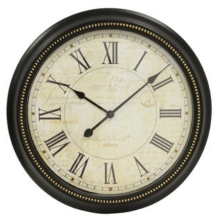 Postcard Roman Numeral Brown Marbled 22-inch Wall Clock