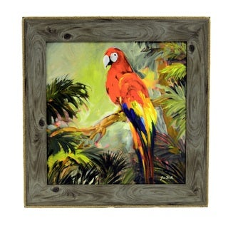 Parrots at Bay Framed Art (24 x 24 inches)