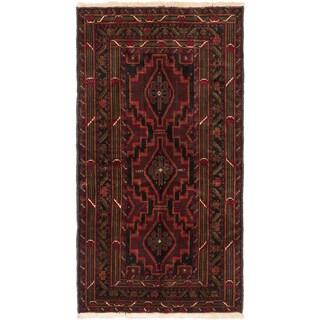 Ecarpetgallery Finest Rizbaft Black, Dark Brown Wool Geometric Rug (3'11 x 7'4)