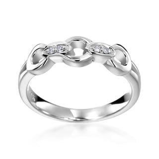 SummerRose 14k White Gold Diamond Accent Chain Fashion Ring