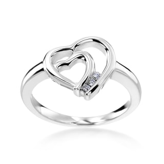 SummerRose 14k White Gold Diamond Accent Double Heart Ring