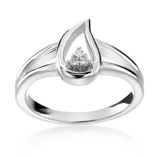 SummerRose 14k White Gold Diamond Accent Teardrop Fashion Ring