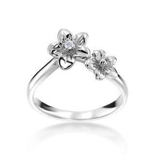 SummerRose 14k White Gold Diamond Accent Double Flower Ring