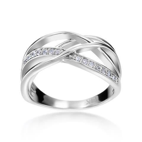 SummerRose 14k White Gold 1/6ct TDW Diamond Criss-cross Fashion Ring