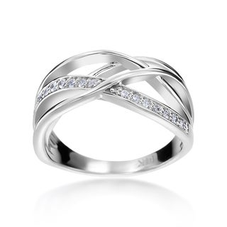 SummerRose 14k White Gold 1/6ct TDW Diamond Criss-cross Fashion Ring (H-I, SI1-SI2)