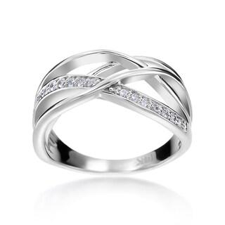 SummerRose 14k White Gold 1/6ct TDW Diamond Criss-cross Fashion Ring