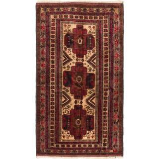 Ecarpetgallery Finest Rizbaft Dark Red, Khaki Wool Geometric Rug (3'11 x 6'8)