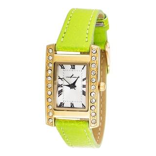 Via Nova Women's Gold Case and Plate / Green Strap CZ Zirconia Watch