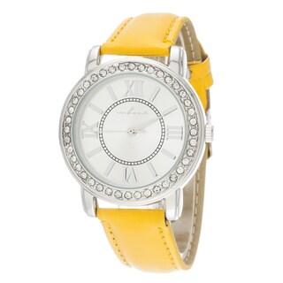 Via Nova Women's Silver CZ Zirconia / Yellow Leather Strap Watch