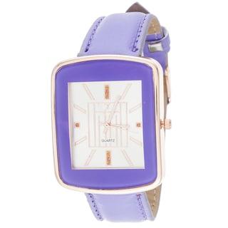 Via Nova Women's Square Gold Case / Grey Strap Watch