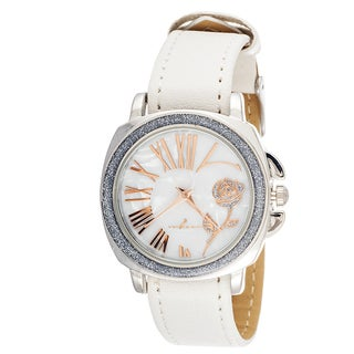 FORTUNE NYC Women's CZ Zirconia Silver Rose Flower / White Leather Strap Watch