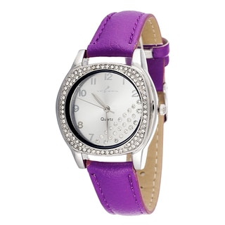 Via Nova Women's CZ Zirconia Silver Case and Plate / Purple Strap Watch