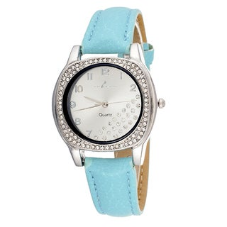 Via Nova Women's CZ Zirconia Silver Case and Plate / Green Strap Watch