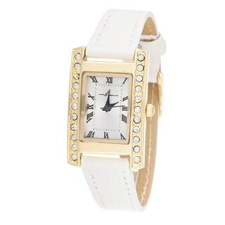 Via Nova Women's CZ Zirconia Gold Case and Plate / White Strap Watch